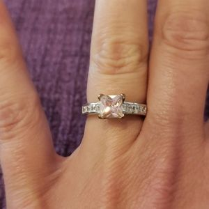 Pink and white simulated diamond ring